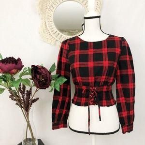 SHEIN plaid flannel cropped tie waist blouse S